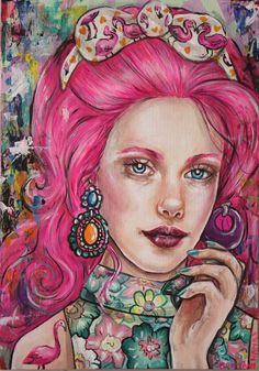 """Inspired by Jem and Retro Barbie illustrations, """" Flamingo Pink"""" is the perfect print to add a girlie touch to any room. Perfect for fans of retro clothing with an edge! This giclee stretched canvas p"""