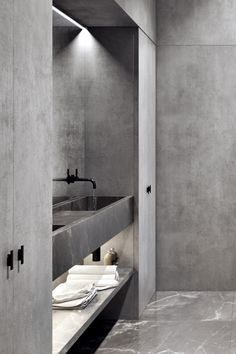 'Minimal Interior Design Inspiration' is a weekly showcase of some of the most perfectly minimal interior design examples that we've found around the web - all Bathroom Grey, Concrete Bathroom, Bathroom Countertops, Modern Bathroom, Small Bathroom, Bathroom Ideas, Bathroom Vanities, Bathroom Designs, Bathroom Fixtures