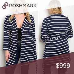 "{Plus} 1X/XL Navy & White Striped Jacket Such a gorgeous jacket!!! 95% Poly, 5% Spandex. Has pockets! Gorgeous feel for a lightweight jacket. Length is 38"" bust is 40"" on the one pictured. Such a must have!!! No trades, no comments only offer button. Jackets & Coats"