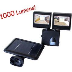 1000Lumen Solar Powered Dual HeadsOutdoor Garden Motion Sensor Security Flood Light