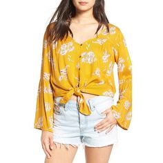 Women's Billabong 'Forget Me Not' Floral Top ($50) ❤ liked on Polyvore featuring tops, honey, fitted tops, peasant tops, floral peasant top, yellow floral top and yellow top