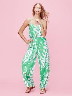 Lilly Pulitzer Target Satin Jumpsuit Pant Romper Boom Boom Green Leaf Print M