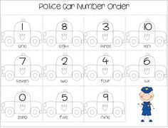 free number order worksheet and roll-n-cover game printable for community helpers