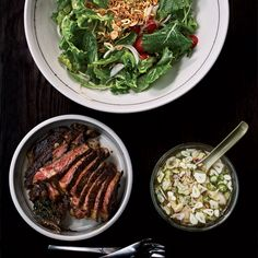 Baby Kale and Steak Salad | Top Chef Season 9 winner Paul Qui came up with this sugarless version of nuoc cham, the classic Vietnamese dipping sauce. Coconut water replaces the sugar; shallot, garlic and jalapeño add bold flavor.