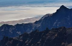 From the East Rim Lookout atop Steens Mountain, the alkaline Alvord Desert appears to be a sheet of white.