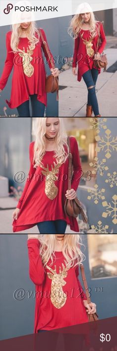 ▶️COMING SOON 🇺🇸MADE IN USA- Red tunic with gold sequin reindeer. Also coming in black Tunic with gold sequin reindeer. COMING SOON! Very nice quality. $32 Price firm unless bundled. Would look amazing with my black and gold reindeer leggings to make a complete look! S(2-4) M(6-8) L(10-12) fits true to size but a little flowy for the most comfortable top!  94%POLYESTER 6%SPANDEX LONG SLEEVE SHARK BITE REINDEER SEQUINS PATCHED SOLID TOP MADE IN USA. ValMarie Boutique Tops Tunics