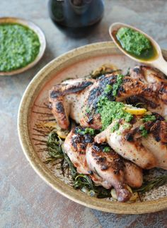 Grilled Cornish Hens With Salsa Verde Foodandwine Com - Andrew Zimmerns Marinated And Grilled Cornish Hens With A Bright Herby Salsa Verde Are A Dynamite Summertime Crowd Pleaser Plus Andrew Zimmerns Kitchen Adventures Slideshow Grilled Chi Grilling Recipes, Wine Recipes, Great Recipes, Cooking Recipes, Summer Recipes, Delicious Recipes, Favorite Recipes, Grilled Cornish Hens, Salsa Verde Recipe
