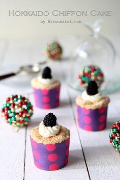 Bisous À Toi: Daily cake - Hokkaido chiffon cake with vanilla custard Hokkaido Cake, Light Cakes, Vanilla Custard, Chiffon Cake, Muffin Recipes, No Bake Cake, Donuts, Bakery, Deserts