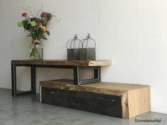 industrieel boomstam eiken tv meubel
