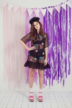 Sweep Me Sheer Dress – WND.LND First Down, Rose Embroidery, Sheer Dress, Harajuku, Button Up Shirts, Garden, Dresses, Style, Fashion