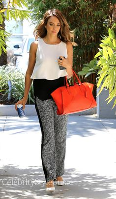 Seen on Celebrity Style Guide: Actress Jessica Alba arrives at her Honest Company offices today looking casual chic in monochrome top and these tweed trousers and this bright red designer bag in Santa Monica, CA May 2....  Get It Here: http://rstyle.me/n/itffsmxbn