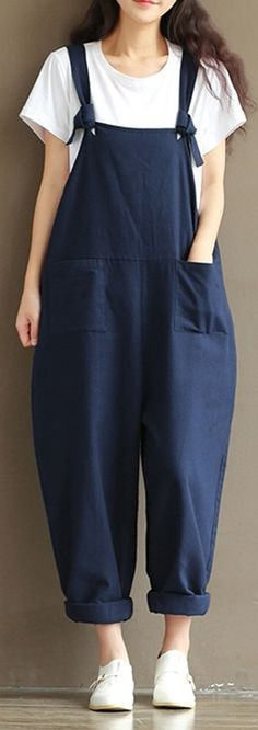 Up To 47% OFF! Only US$26.68 O-NEWE Casual Strap Pockets Jumpsuit Romper Trousers Overalls For Women