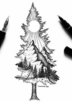 Cool Art Drawings, Art Drawings Sketches, Tattoo Sketches, Tattoo Drawings, Sweet Tattoos, Cute Tattoos, Body Art Tattoos, Nature Tattoo Sleeve, Nature Tattoos