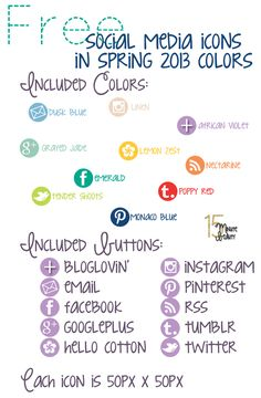 Free Social Media Icons in Spring 2013 Pantone Colors from @15 Minute Beauty Fanatic