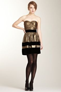 Velvet Trim Metallic Strapless Dress  This would make a great New Years outfit