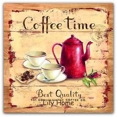 Handmade Decoupage Wall Picture Plaque Vintage Coffee Time Kitchen Dining Home Decor Gift Vintage Decor, Retro Vintage, Images Murales, White Acrylic Paint, Painted Boards, House Gifts, Wall Art Pictures, Vintage Coffee, Home Wall Decor