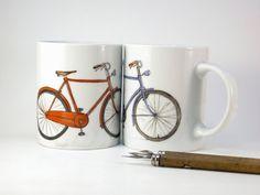 Vélo peint à la main en porcelaine tasse, rouge un prêt à expédier