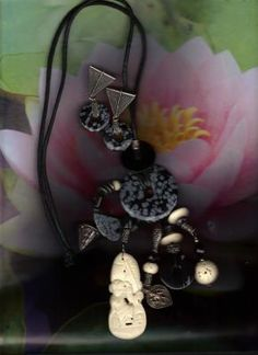 2PC AFRICAN BONE COLOR STONE BLACK ROPE FREE SHIPPING  $25.00