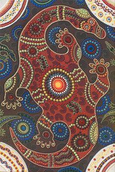 The Happy Goana Mama. Australian Aboriginal Painting, painted by Ousha Jenamoia in 2011