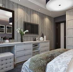 Modern Bedroom Design, Pictures, Remodel, Decor and Ideas - page 34 Bedroom Tv Wall, Bedroom Dressers, Bedroom Decor, Bedroom With Tv, Diy Dressers, Bedroom Ideas, Master Bedrooms, Dresser Desk, Vanity Drawers