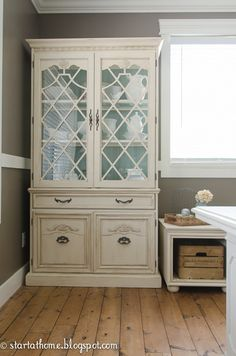 Painting the back of a hutch is a great way to add color that is easily changed.  If you get tired of the color just pop the back panel out and repaint it!!