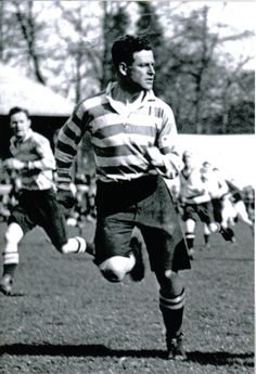 Wonderful image of the legendary GPS 'Phil' Macpherson who captained Scotland to the first Grand Slam in 1925. This is an action shot of him playing for Edinburgh Accies at the Melrose Sevens. Sharp shorts!