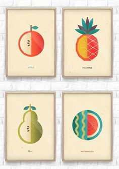 Fruit Salad Collection / Telegramme Paper, I like the bold colours and general theme of juicy fruit. These images are minimalistic and simple, yet effective. Vegetable Illustration, Fruit Illustration, Food Illustrations, Graphic Illustration, Graphic Art, Illustration Example, Design Web, Ok Design, Layout Print