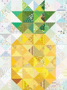 Bring some fun to any room with this charming pineapple quilt! Perfect for that beach-themed nursery or any room that needs a little cheering up. Customize with fabrics of your choice.