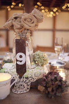 Burlap and lace_ Table Decoration- okay so not quite this vintage but the concept