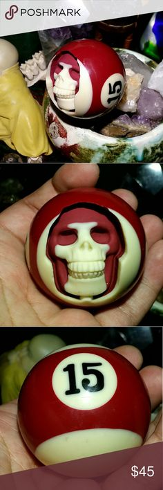 127.5g No.15 Billiard Ball Skull Cut billiard ball with a skull. This one is a dark red striped ball with a No. 15 on the side. Can be added to any altar or collection.  Dimensions: 2 inches by 2 inches  Celtic skull symbolic meaning deals with some very deep themes. Stuff like transience, power, spirit and portals of new understanding. Celtic culture viewed the head or skull to be the seat of power.  Angel Number 15 is a message to keep your thoughts and actions focused upon your goals and…
