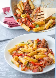 The best vegan pasta! Sauteed 'sausage' and red peppers in a spicy sauce! Perfect for company!