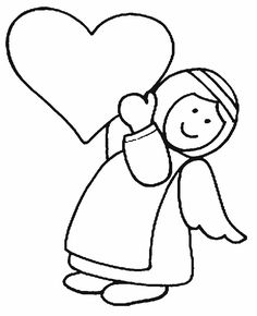 Guardian Angel Coloring Pages Angel Coloring Pages, Cute Coloring Pages, Christmas Coloring Pages, Coloring Pages For Kids, Coloring Books, Colouring Sheets, Kids Coloring, Angel Images, Angel Pictures