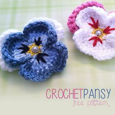 Crochet pansy flower. Free pattern. thanks so xox
