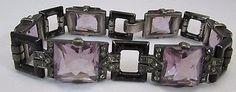 1920s France Sterling Silver Art Deco Rhinestone Enamel Lavender Glass – Vintage…