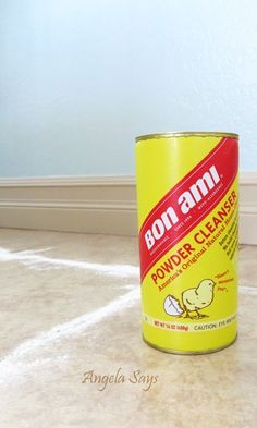 The Best Kept Secret to Cleaning Tile and Grout :: Hometalk - Sprinkle Bon Ami, then spray with 50/50 white vinegar and water, scrub with brush, then rinse