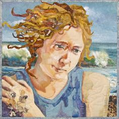 SHELLSEEKER -  Raw edge pieced mini quilt.  Real shells intertwined in her hair and in her hand.  by Nancy Messier