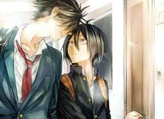 Kenma and Kuroo from Nekoma, Kenma is okay with black hair too