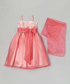 Coral Bow Dress & Shawl - Girls