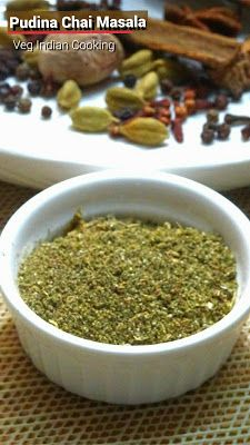 Pudina Chai Masala Powder Pudina Masala Chai aka Minty Spiced Tea is flavored tea drink which is made by brewing black tea with a mixture of aromatic herbs and spices. Masala Powder Recipe, Masala Sauce, Masala Recipe, Jain Recipes, Tea Recipes, Indian Food Recipes, Healthy Cooking, Cooking Recipes, Appetizers