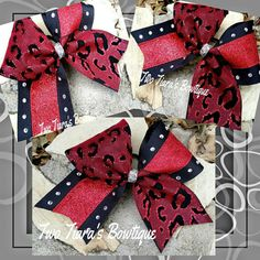 Red glitter Leopard tick tock Cheer bow!  Originally made as a sample bow for Wildside Tumbling.  I love the way it turned out!  Teams always get discounts!  Check out Two Tiara's Bowtique on Etsy or Facebook as TwoTiaras Bowtique for more options and recent updates!  Check out this item in my Etsy shop https://www.etsy.com/listing/216852280/red-glitter-leopard-cheer-bow-team