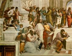 (Raphael) Raffaello Santi - The School of Athens, detail from the left hand side showing Pythagoras surrounded by students and M
