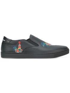 3e3a246e30 Dolce   Gabbana London slip-on Rooster Print Sneakers - Farfetch