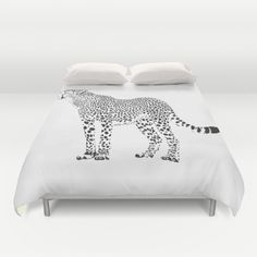 Cheetah - black and white Duvet Cover by vladimirceresnak White Duvet Covers, Cheetah, Home Accessories, Bed Pillows, Pillow Cases, Condo, Black And White, Pillows, Black N White