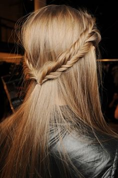 fishtail braid, half up.
