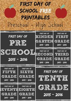 First Day of School Printables :: Perfect for that first day photo