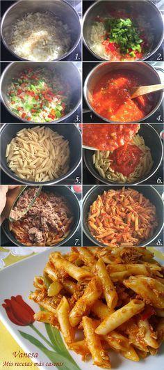 Macarrones con atún, paso a paso 2 latas de Atun, apio, cebolleta, 2 ajos, calabacín, pimiento rojo y verde, pimentón dulce y orégano