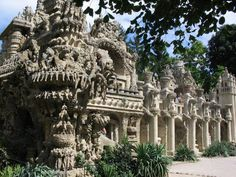 Ferdinand Cheval's ideal palace in Algiers..Cheval lived a long life of respectable poverty, apprenticed first to a baker at age 13 and then entering the postal service in 1867. One day on his route he tripped over a stone, picked it up and was taken aback by its bizarre shape.  From that day forward his 33-year quest to build the Ideal Palace began
