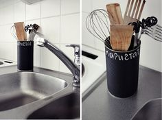 Why have I not thought of this yet?? Chalkboard paint on tin can for storage!