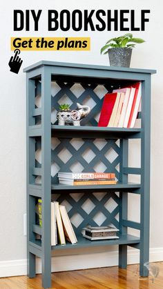 Easy DIY Bookshelf with plans. Simple how to build tutorial with plans. Great for book storage. Easy woodworking project for beginners #anikasdiylife #woodworking Woodworking Tools For Beginners, Scrap Wood Projects, Diy Furniture Plans Wood Projects, Woodworking Projects That Sell, Wood Working For Beginners, Woodworking Crafts, Diy Projects, Woodworking Furniture Plans, Small Bookshelf
