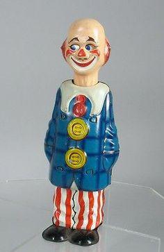 1949 Distler German Tin Happy Clown Wind Up Antique Toys, Vintage Toys, Clowning Around, Tin Toys, World War Ii, Make Me Smile, Primitive, Collectible Toys, Empty Spaces